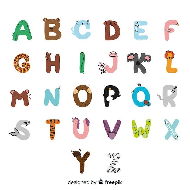 Hand getekend schattige dieren alfabet Gratis Vector