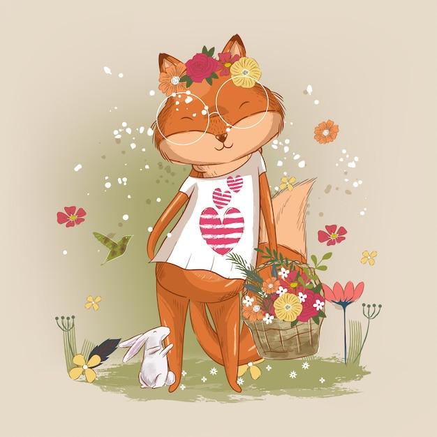 Hand getekend schattige kleine vos meisje illustratie voor kinderen Premium Vector