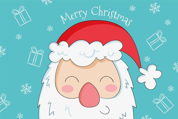 Hand getekend schattige smiley santa Premium Vector