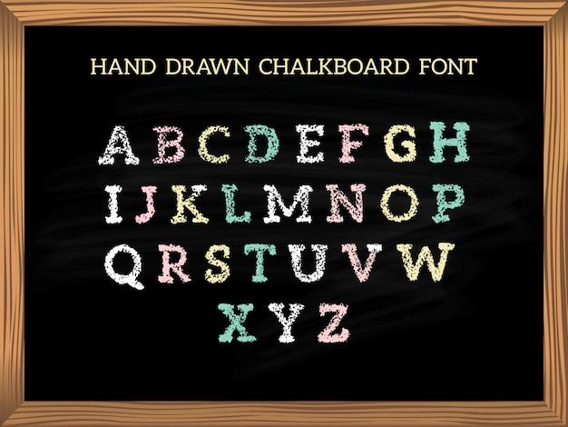 Hand getekend schoolbord lettertype. Premium Vector