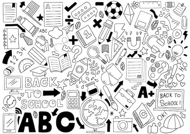 Hand getekend set van school pictogrammen ornamenten achtergrondpatroon Premium Vector