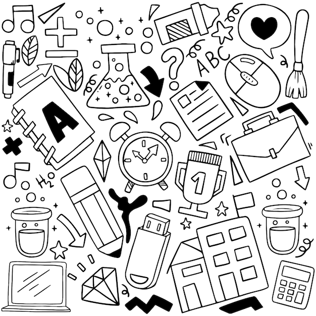 Hand getekend set van school pictogrammen ornamenten Premium Vector