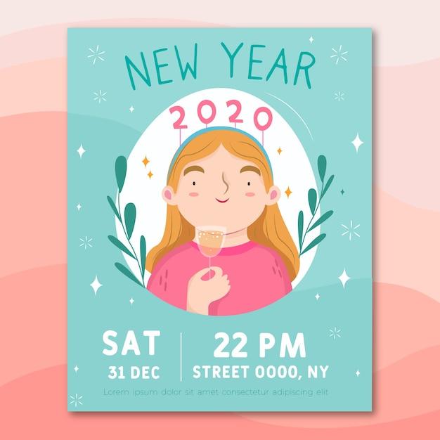Hand getekend sjabloon voor het nieuwe jaar 2020 feest folder Gratis Vector