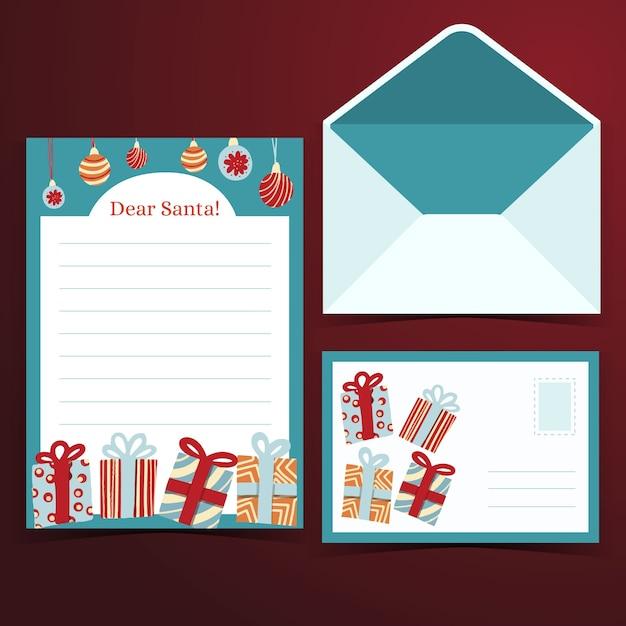 Hand getekend sjabloon voor kerst briefpapier Gratis Vector