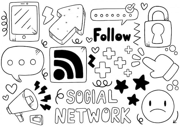 Hand getekend sociale media Premium Vector