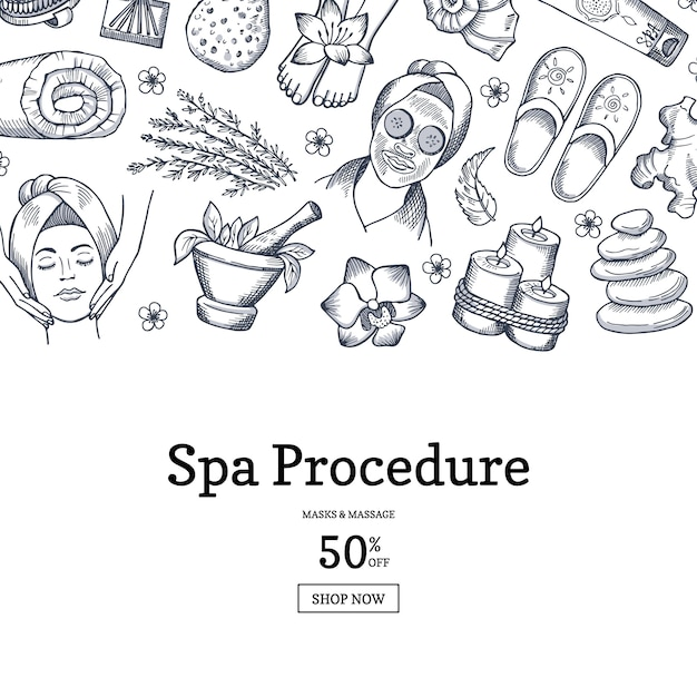 Hand getekend spa banner Premium Vector