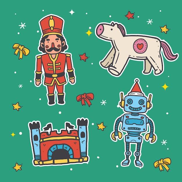 Hand getekend speelgoed kerstcollecte Gratis Vector
