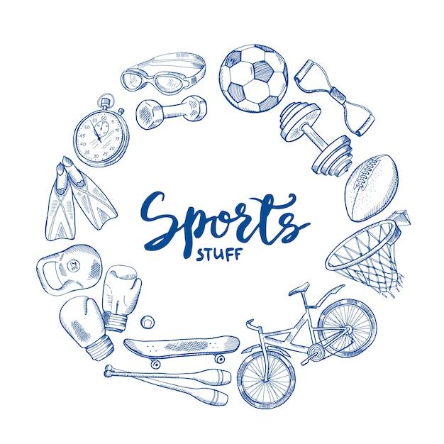 Hand getekend sport gereedschap cirkel concept met belettering in centrum. apparatuur schets doodle, fitness training illustratie Premium Vector