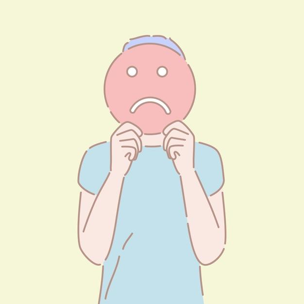 Hand getekend stijl vector van een man met een triest teken voor zijn gezicht. Premium Vector