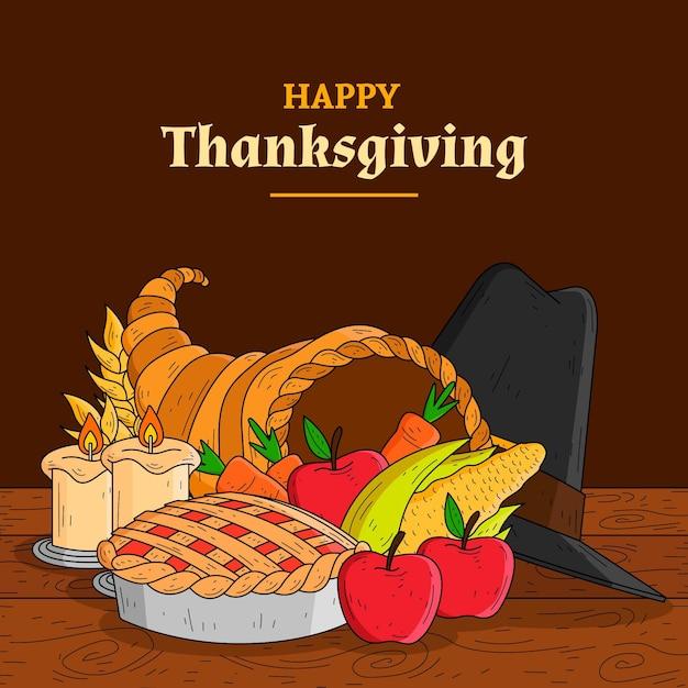 Hand getekend thanksgiving achtergrond met fruit Gratis Vector