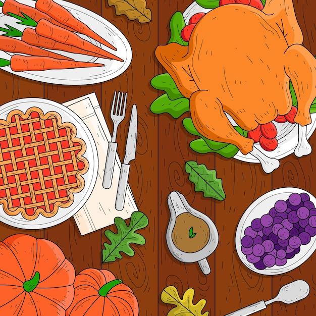 Hand getekend thanksgiving achtergrond met voedsel Gratis Vector