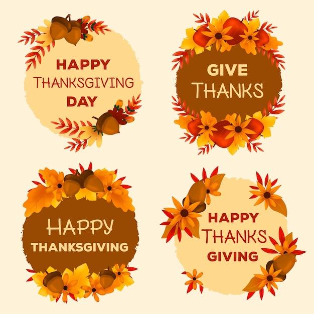 Hand getekend thanksgiving label collectie Gratis Vector