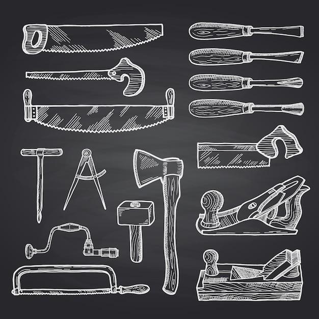 Hand getekend timmerwerk op zwart schoolbord Premium Vector