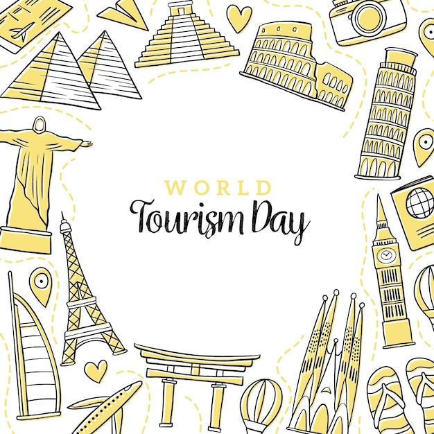 Hand getekend toerisme dag concept Gratis Vector
