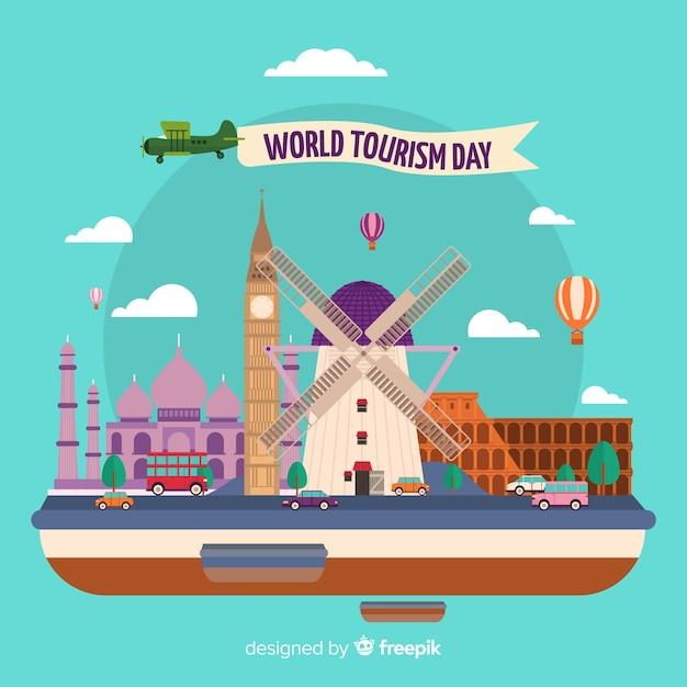 Hand getekend toeristische dag verscheidenheid aan bezienswaardigheden Gratis Vector