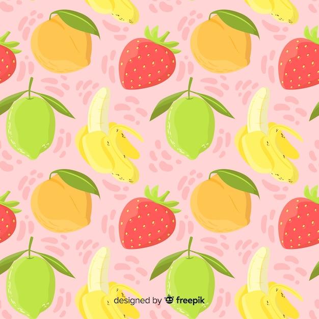 Hand getekend tropisch fruit patroon Gratis Vector