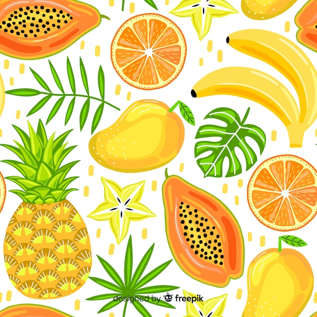 Hand getekend tropisch fruit patroon Gratis Vector