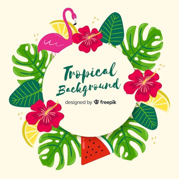 Hand getekend tropische achtergrond Gratis Vector