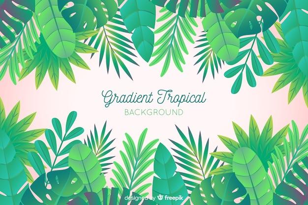 Hand getekend tropische bladeren achtergrond Gratis Vector