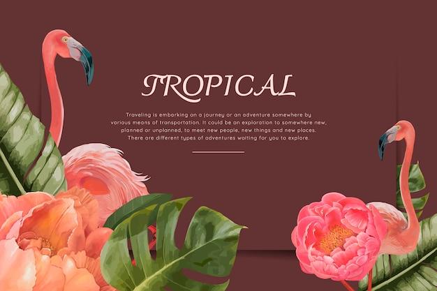 Hand getekend tropische flamingo's Gratis Vector
