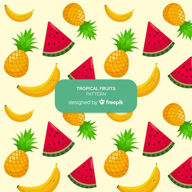 Hand getekend tropische vruchten patroon Gratis Vector
