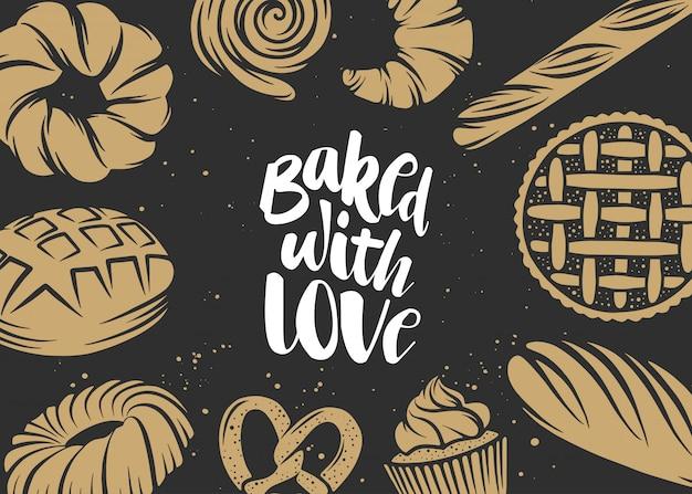 Hand getekend typografieontwerp, gebakken met liefde. Premium Vector