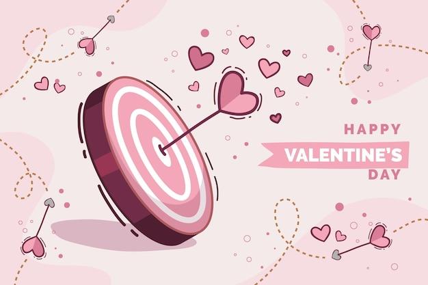 Hand getekend valentijnsdag achtergrond Gratis Vector
