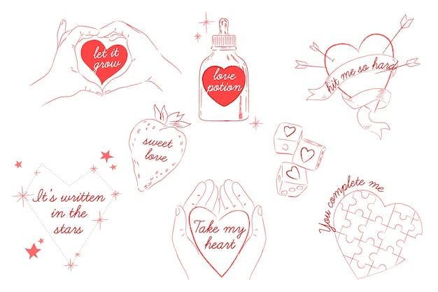 Hand getekend valentijnsdag badge collectie Gratis Vector