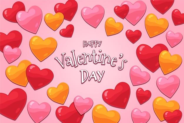 Hand getekend valentijnsdag behang Gratis Vector