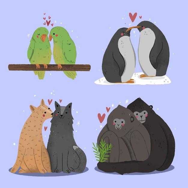 Hand getekend valentijnsdag dierlijk paar Gratis Vector