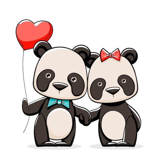 Hand getekend valentijnsdag panda paar Gratis Vector