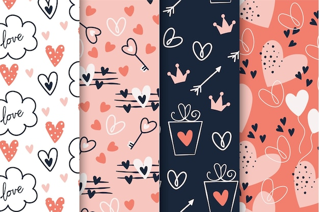 Hand getekend valentijnsdag patroon collectie Gratis Vector