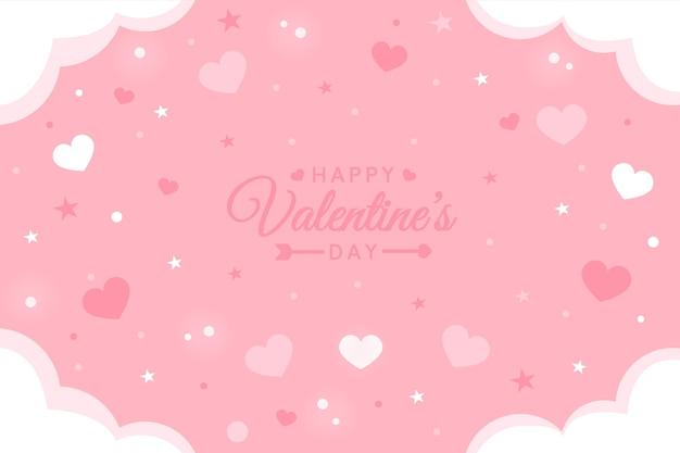Hand getekend valentijnsdag roze achtergrond Premium Vector