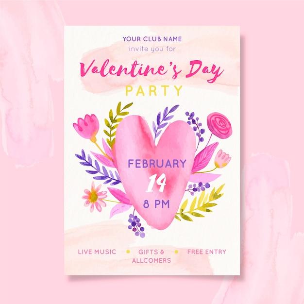 Hand getekend valentijnsdag sjabloon folder Gratis Vector