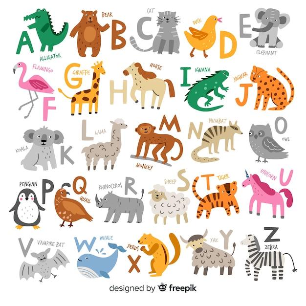 Hand getekend van dieren alfabet Gratis Vector