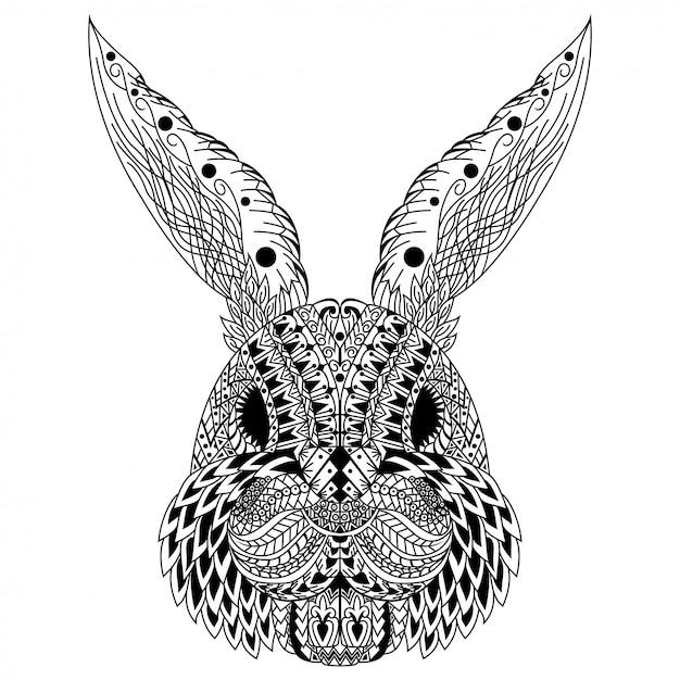 Hand getekend van konijn hoofd in zentanglestijl Premium Vector