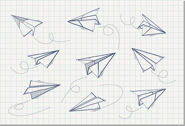 Hand getekend van papieren vliegtuigje, vectorillustratie Premium Vector