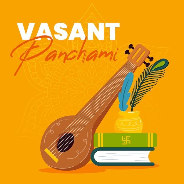Hand getekend vasant panchami illustratie met boeken en veena Gratis Vector