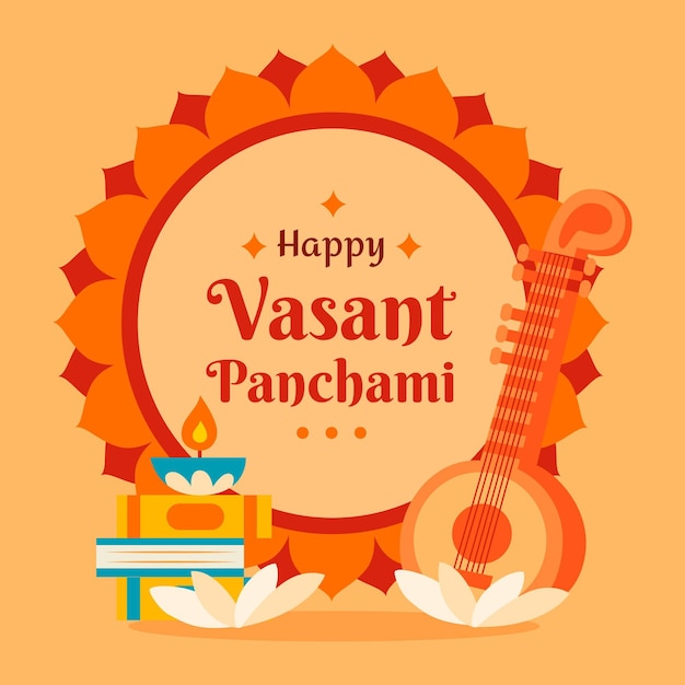 Hand getekend vasant panchami illustratie Gratis Vector