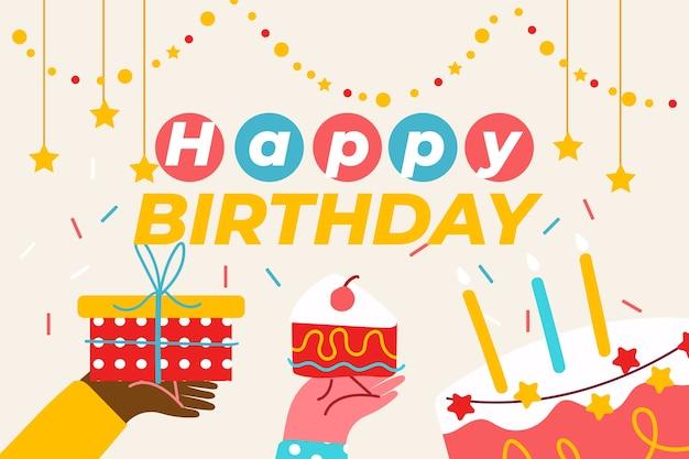 Hand getekend verjaardag achtergrond met cake en cadeau Premium Vector