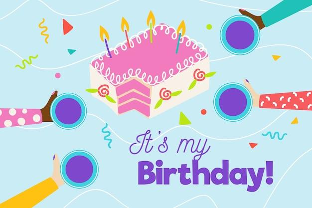 Hand getekend verjaardag achtergrond met cake Gratis Vector