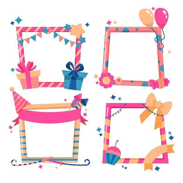 Hand getekend verjaardag collage frame met geschenken Gratis Vector