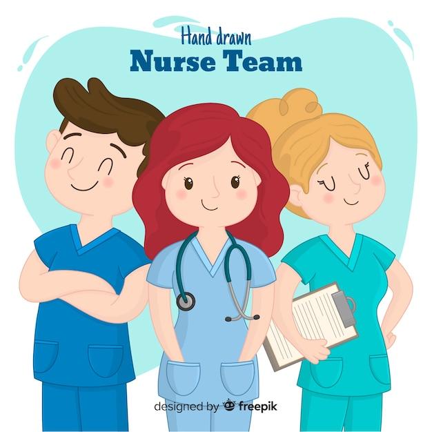 Hand getekend verpleegster-team Gratis Vector