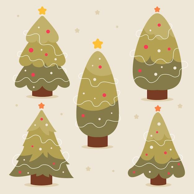 Hand getekend versierd kerstbomen pack Gratis Vector