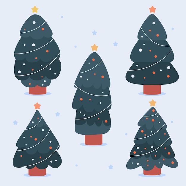 Hand getekend versierde kerstbomen collectie Gratis Vector