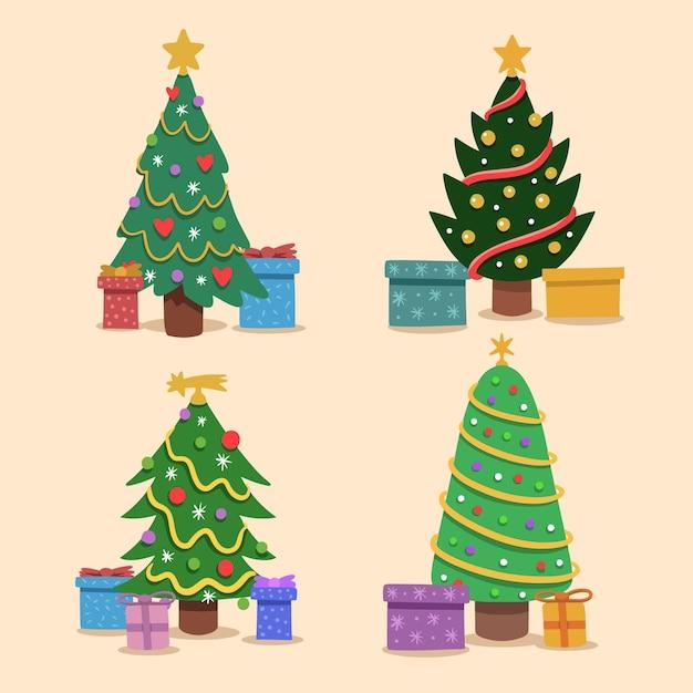 Hand getekend versierde kerstbomen Gratis Vector
