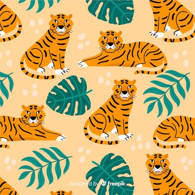 Hand getekend vintage tijger patroon Gratis Vector