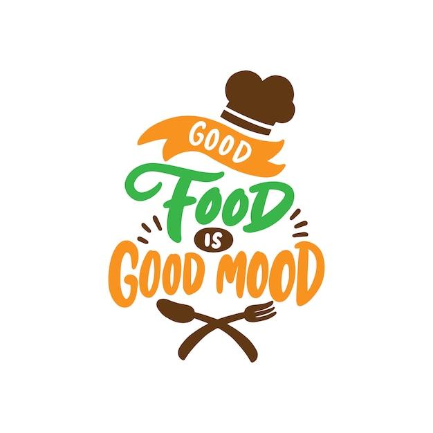 Hand getekend voedsel belettering poster voor café en restaurant Premium Vector