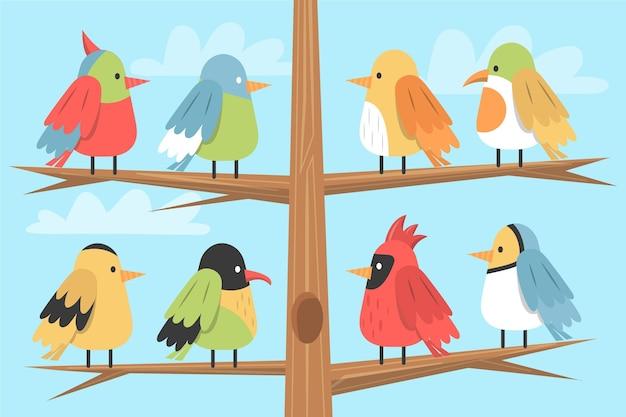 Hand getekend vogel collectie Gratis Vector