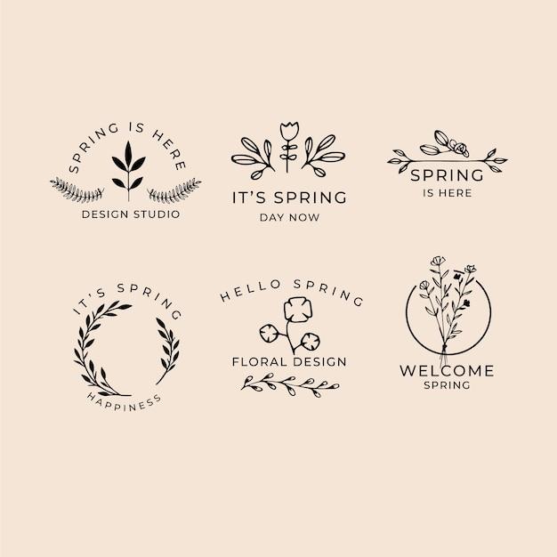 Hand getekend voorjaar badge collectie Gratis Vector